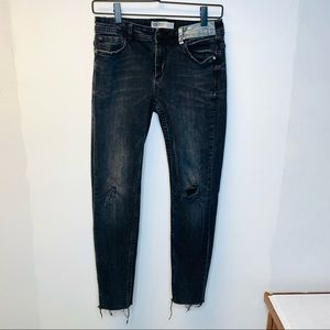 Zara Basic Distressed Metallic Patch Skinny Jeans